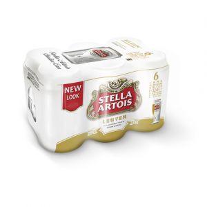 Stella Artois Bière blonde de luxe, brassée en Belgique - Les 6 canettes de 33cl