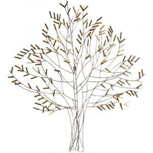 Aubry Gaspard Décoration murale arbre en métal or et argent