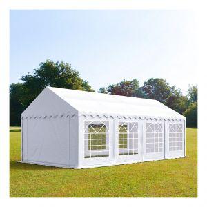 Intent24 Tente de réception 4 x 8 m PVC anti-feu blanc