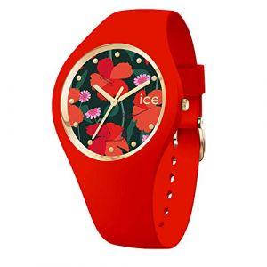 Ice Watch Ice-Watch - ICE Flower Floral Passion - Montre Rouge pour Femme avec Bracelet en Silicone - 017577 (Medium)