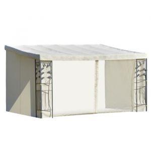 Outsunny Pergola adossable dim. 4L x 3l x 2,7H m pavillon de Jardin Toile Polyester Haute densité moustiquaires crème Structure métal époxy Gris