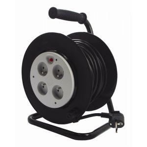Zenitech Enrouleur Bricolage 4 prises 2P+T 16A avec coupe circuit thermique HO5VV-F 3G1,5mm² 25m à platine Fixe