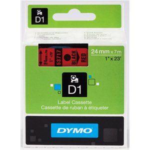Dymo S0720970 - Étiquettes D1 Noir sur rouge Rouleau (2,4 cm x 7 m) pour LabelMANAGER; LabelPOINT