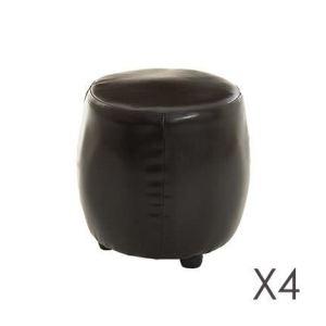 4 poufs ronds Indira en simili (32 x 32 cm)