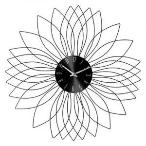 """Pendule Murale Métal """"Fleur"""" 50cm Noir Prix"""