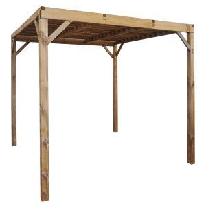 Jardipolys Eko - Pergola brise soleil carrée sans toit sans plancher en bois 258 x 258 x 235,40 cm