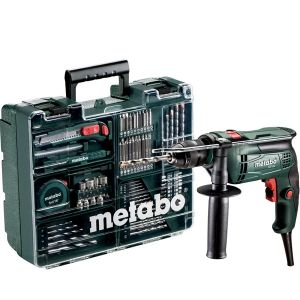 Metabo Perceuse à percussion SBE -650 - 650W + set atelier mobile avec plus de 60 accessoires - 6.00671.87
