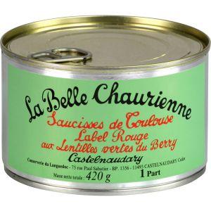 La Belle Chaurienne Saucisses de Toulouse Label Rouge aux Lentilles Vertes du Berry 420 g - Lot de 3
