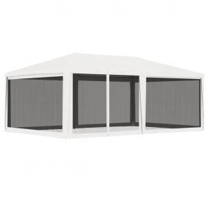 VidaXL Tente de réception avec 4 parois latérales en maille 4x6m Blanc