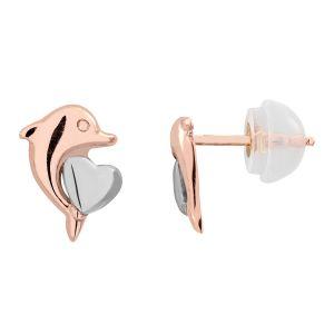 Cleor Boucles oreilles Boucles d'oreilles en Or 375/1000 Rose Enfant multicolor - Taille Unique