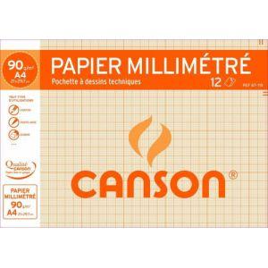 Canson 67-115 - 12 feuilles de papier dessin 90 g (A4)