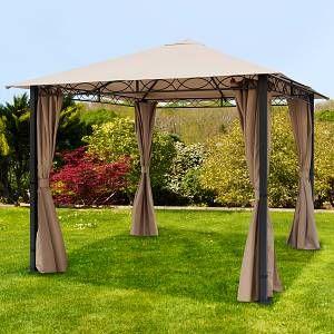 Intent24 Tonnelle De Jardin 3x3m Polyester Mit Pvc-Beschichtung 280 G/M² Taupe Imperméable