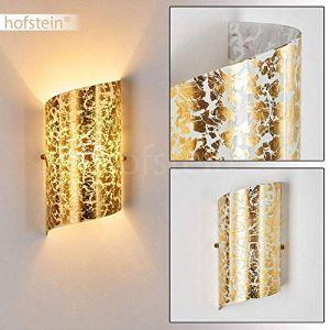 Hofstein Applique murale Pordenone en verre doré - lampe d'intérieur pour chambre à coucher - douille E14 - avec effets lumineux