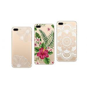 Novago Apple iPhone 7, iPhone 8 Pack DE 3 Coques en Gel Souple et Solide Résistante avec Impression Fantaisie (Pack 3) -Vendeur PRO français, neuf)