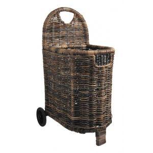 Pegane Chariot à bûches en poelet brun -