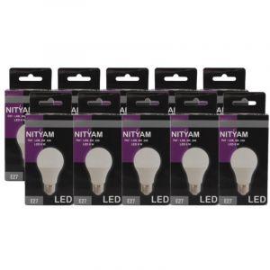 Nityam Lot de 10 ampoules E27 standard LED 6 W équivalent a 40 W blanc chaud - Culot E27 - 6 W équivalent à 40 W - Flux lumineux : 480 lm - Température de couleur : 3000 K - Blanc chaud.