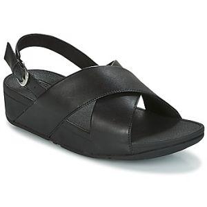 Image de FitFlop Lulu Cross Back-Strap Leather, Sandales Bout Ouvert Femme, Noir (Black 001), 42 EU