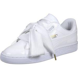 Puma Basket Heart Patent, Baskets Basses Femme, Blanc (White-White), 39 EU