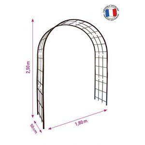Louis Moulin Arche double de jardin avec treillis en fer vieilli
