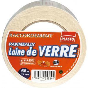 Rouleau adhésif PLASTO pour laine de verre/laine de roche, 75 mm x 66 m