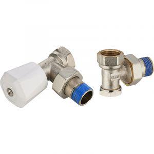 Noyon & Thiebault Kit robinet de radiateur manuel équerre 15x21 + coude de réglage 15x21