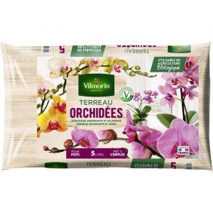 Vilmorin Terreau orchidées 5 L - Terreau orchidées - 5 L - Prêt à l'emploi qui favorise la reprise des plantations et améliore les récoltes.