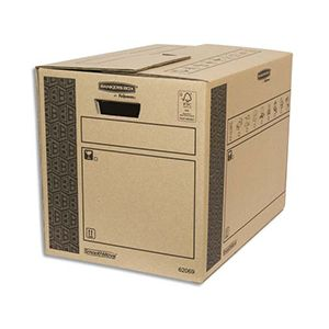 Fellowes 6206902 - Lot de 10 cartons de déménagement Bankers Box SmoothMove, 65 litres / 80 kg, en carton recyclé naturel