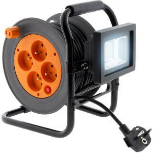 Zenitech Enrouleur électrique 4 prises 16A 2P+T avec projecteur LED 10W - câble HO5VV-F 3G1 15m avec guide câble