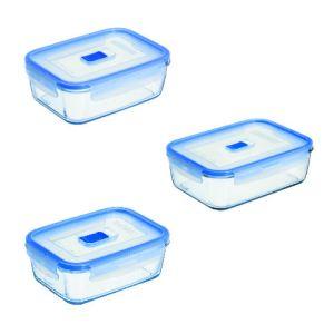 Luminarc 3 boites de conservation rectangulaires Pure Box Active (82 / 122 / 197 cl)