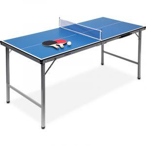 Relaxdays Midi table de ping-pong (150 x 67 x 71 cm) pour le salon de jardin portable intérieur ou extérieur facile à transporter inclus balles et 2 raquettes + filet, bleu