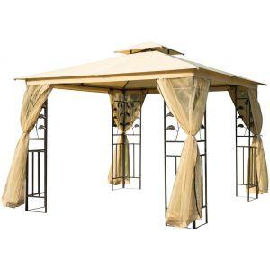 Outsunny Tonnelle barnum style colonial double toit toiles moustiquaires amovibles 3L x 3l x 2,65H m beige noir
