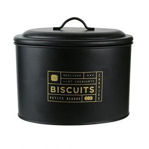 AC-Déco Boîte à biscuits imprimé doré - L 21 x l 14 x H 17 cm - Noir