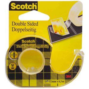 Scotch 136-DQ-FBNL - Ruban adhésif double face 665, transparent, 12 mm x 7,9 m, avec dévidoir