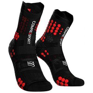 Compressport Chaussettes de course pour homme Chaussettes de compression Noir/rouge, T4