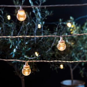 Lights4Fun Guirlande Guinguette Extérieure Raccordable avec 40 Globes Transparents aux LED Blanc Chaud, Série PRO