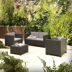 Concept-Usine Ankara 4 coffre : Salon de jardin 4 places effet résine injectée gris anthracite + coffre