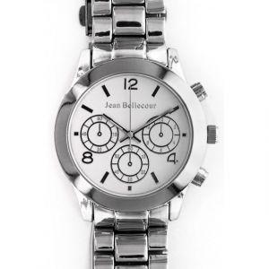 Jean Bellecour Montre Femme - Montre en acier sur un bracelet en métal argenté.Cadran argenté doté d'un affichage analogique et d'un chronographe. Mouvement quartz. Montre résistant a un pression de 10 Atm.