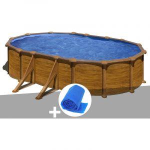 Gre Kit piscine acier aspect bois Mauritius ovale 5,27 x 3,27 x 1,32 m + Bâche à bulles