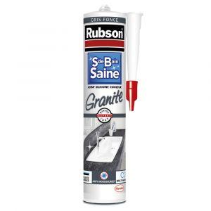 "Rubson 1712525 Mastic Silicone ""Salle de Bain Saine"" - Coloris ""Granite"" Gris Foncé - Cartouche 280 ml"