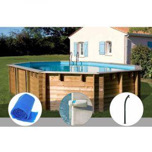 Sunbay Kit piscine bois Vermela 6,72 x 4,72 x 1,46 m + Bâche à bulles + Alarme + Douche