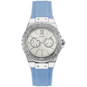 Guess : Montre W1053L5 - LIMELIGHT Silicone Bleu Acier Argenté Lunette Sertie Femme