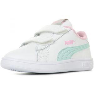 Puma Smash v2 L V PS, Sneakers Basses Mixte Enfant, Blanc White-Fair Aqua-Pale Pink, 32 EU