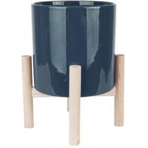 Present time Cache-pot sur pieds Trestle - Diam. 20 cm - Bleu