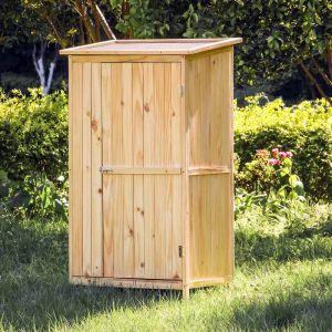 wiltec Armoires de jardin en bois naturel 1 porte 91x60x155cm Placard à outils