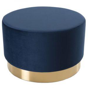 BLANC Pouf rond Tissu velours bleu marine et ceinture dorée 55 x 55 cm