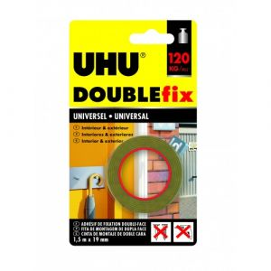 UHU Ruban adhésif Doublefix Extra Fort universel invisible - 1,5 m x 19 mm