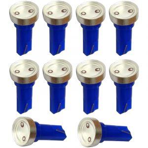 Aerzetix : 10x ampoule T5 12V LED HIGH POWER 1W bleu pour tableau de bord