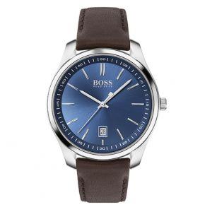 Hugo Boss Montre 1513728 - circuit boitier acier cadran bleu bracelet cuir marron Homme
