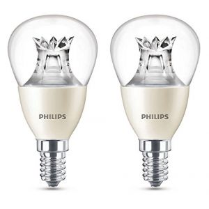 Philips Warmglow LED 8 W (60 W) Dimmable E14 Petit culot à vis Ampoule Lampe mini-globe, transparent,, E14, 8 watts