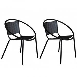 Delorm Design Lot de 2 Chaises noires en métal Brun BAKO